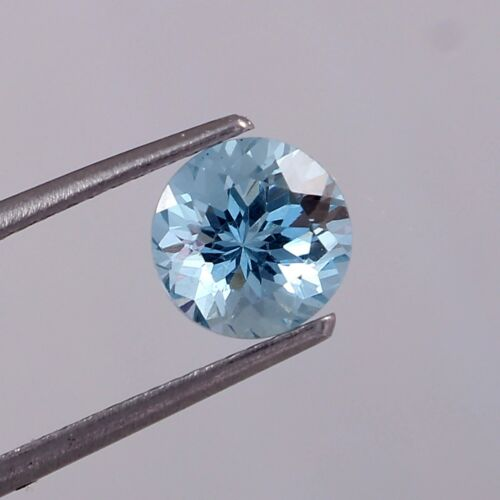 GTL Certified 100% Natural Blue Aquamarine Round Cut VVS Loose Gemstone 1.55 Cts