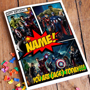MARVEL SUPER HEROES AVENGERS **Personalised Birthday Card** Premium quality.