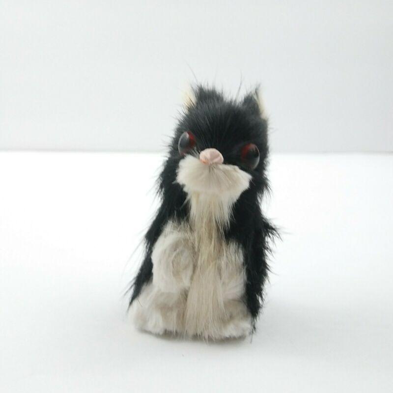Vintage Real Rabbit Fur Bunny Figure Black White Mid Century Modern