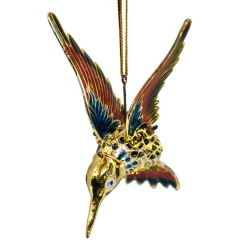 Red Cloisonne Enameled Metal Articulated Hummingbird Ornament Body & Wings Move