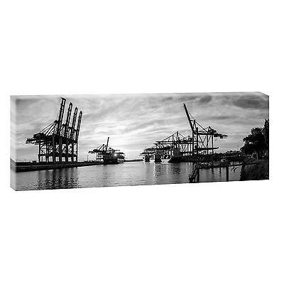 Hamburg Hafen sw Bild Leinwand Poster Modern Design Panorama  150 cm* 50 cm 655