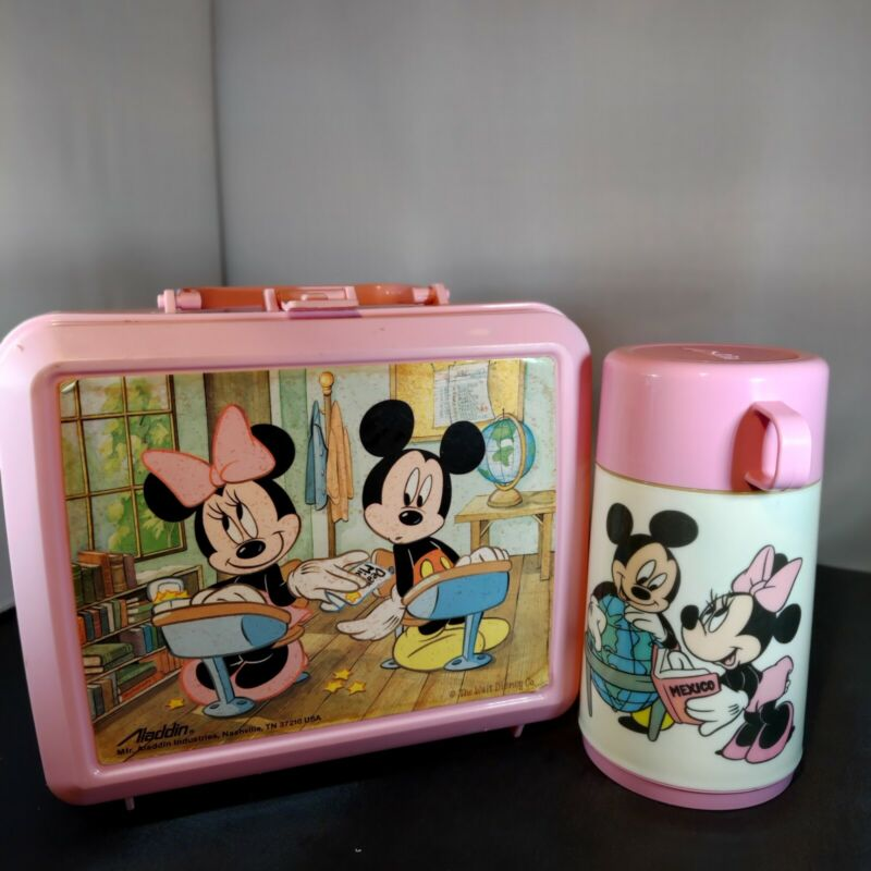Aladdin Vintage Lunch Box and Thermos Pink Mickey Mouse and Minnie Mouse flaw