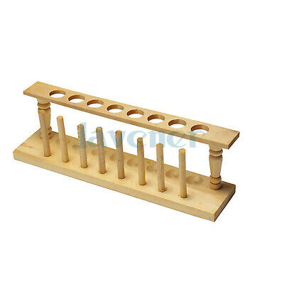 8 Holes Lab Wooden Test Tube Storage Holder Bracket Rack With Stand Sticks