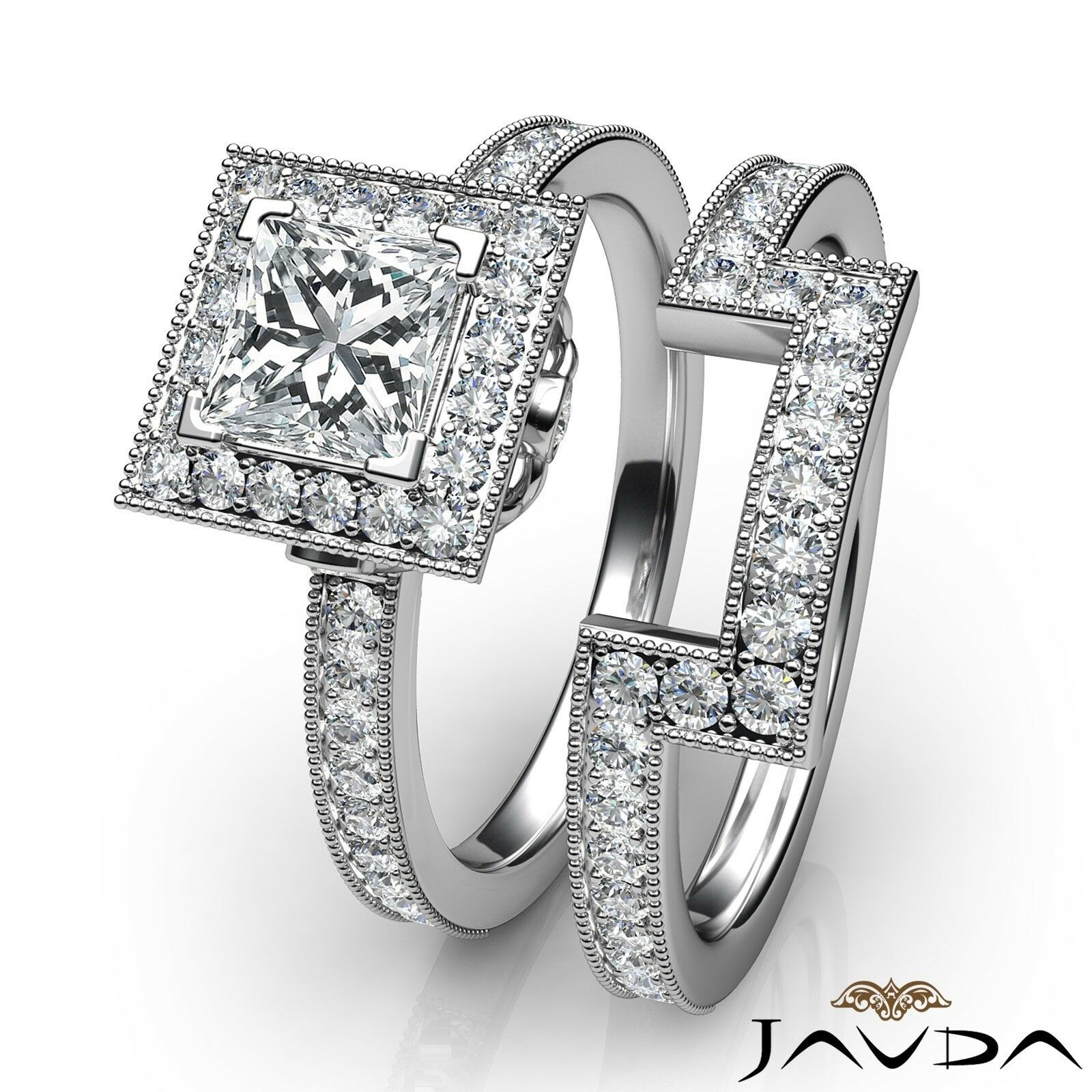 1.9ct Milgrain Edge Bridal Set Princess Diamond Engagement Ring GIA F-VS2 W Gold 3
