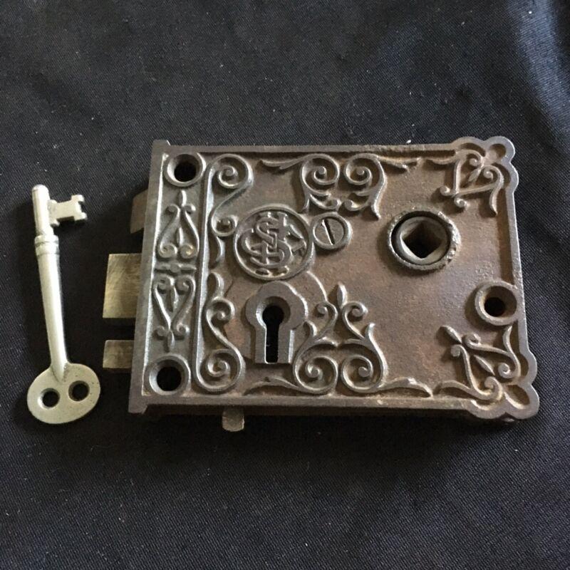 Antique Victorian Eastlake Shapleigh Hardware Ornate Door Hardware Iron Rim Lock