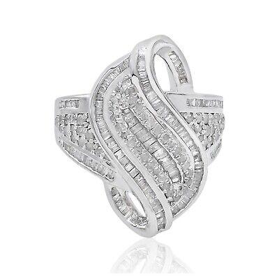 1.23 Ct Baguette Cut Natural White Diamond Swirl Engagement Ring Sterling Silver Baguette Diamond Swirl Ring