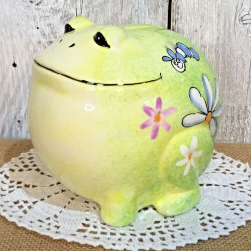 "VINTAGE LARGE CERAMIC SMILING FROG PIGGY BANK HAPPY GREEN TOAD 6"" x 6"" x 4.5"""