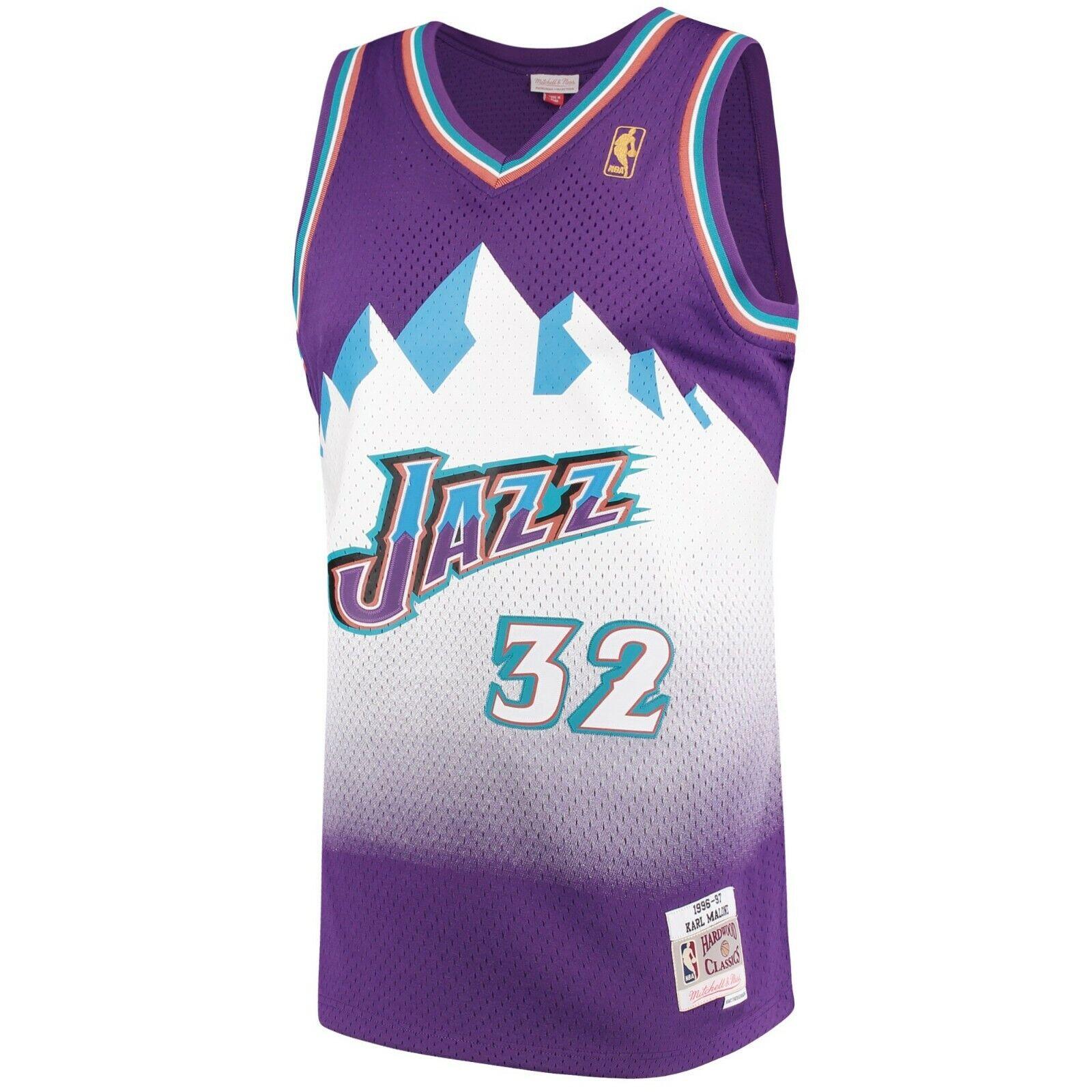 purchase cheap 6753e a383e Details about Mitchell & Ness Swingman NBA Utah Jazz #32 Karl Malone Purple  / White Jersey