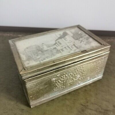 Vintage Rectangular Brass Tea Caddy box. Sailing Nautical town Deisgn.