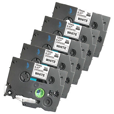 5 Compatible For Brother P-touch Tze Tze-231 Tz 231 Label Tape - 12mm Bkwhite