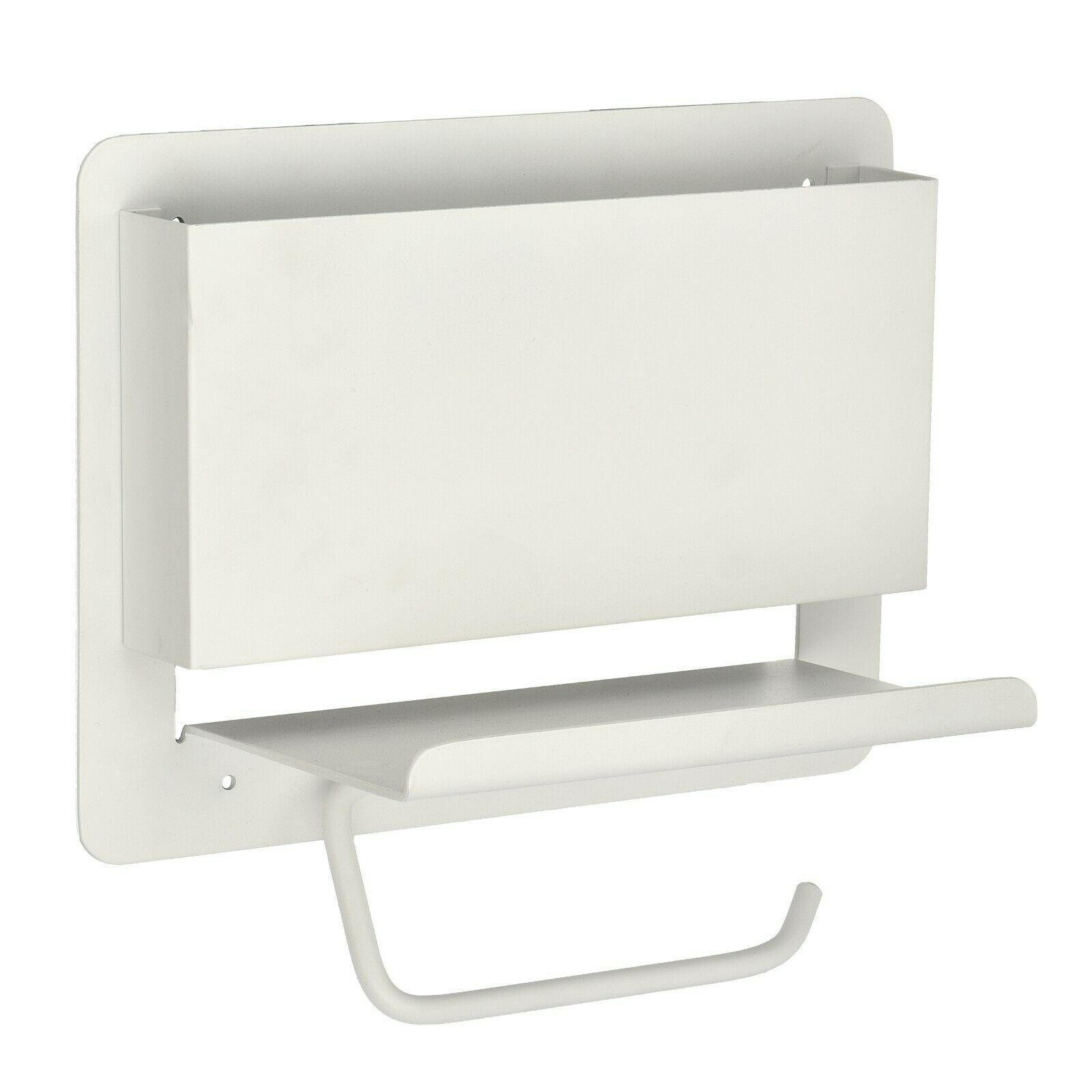 Details About Adirhome White Single Post Toilet Paper Holder With Magazine Rack And Shelf