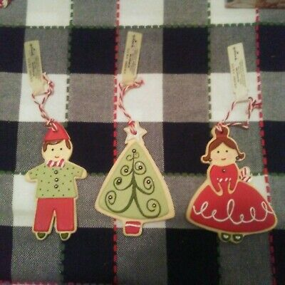3 RARE VINTAGE HALLMARK FROSTED SUGAR COOKIE CHRISTMAS ORNAMENTS! GIRL BOY TREE!