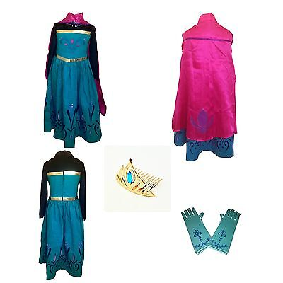 Quick FROM USA - FROZEN ELSA Anna Coronation DRESS & CAPE & GLOVES & TIARA set