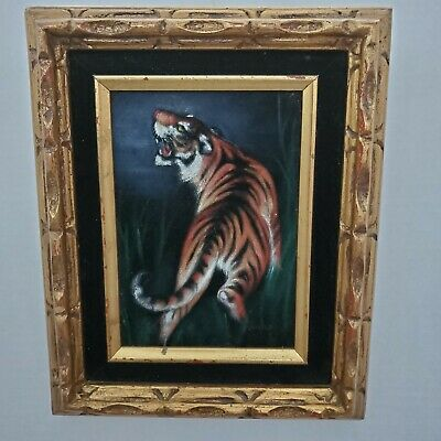 Vintage TIGER ON BLACK VELVET PAINTING carved wood frame TIKI Mid Century Signed