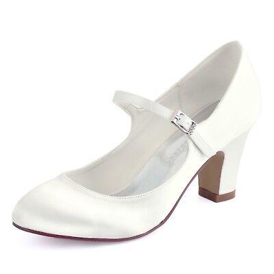 Ivory Mary Jane Rimechen Pumps Blockabsatz 7cm Damen Hochzeitsschuhe Brautschuhe (Ivory Mary Jane Schuhe Für Frauen)