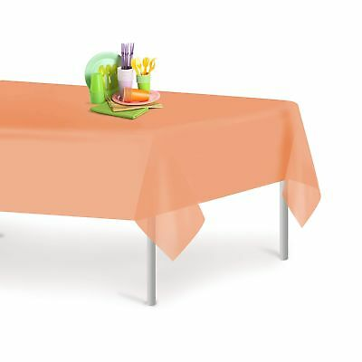 Peach 12 Pack Premium Disposable Plastic Tablecloth 54 Inch. x 108 Inch. Rect...