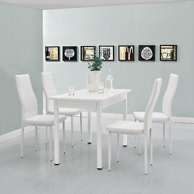 [en.casa]® Esstisch mit 4 Stühlen weiß 120x60cm Küchentisch Esszimmertisch Tisch (Esstische)