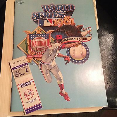 WORLD SERIES 1981 OFFICIAL PROGRAM +ONE TIC. AMERICAN LEAGUE