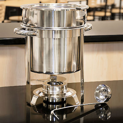 Deluxe Round 7 Qt. Soup Chafer Marmite Stainless Steel Chafing Dish Catering