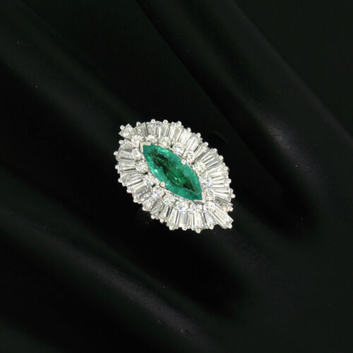 FINE Platinum & 14k White Gold Marquise Emerald Diamond Ballerina Ring Pendant