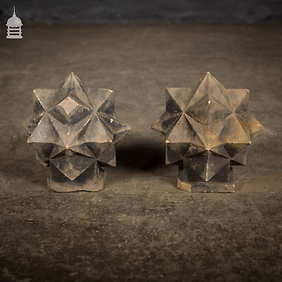 Pair of Carved Sandstone Geometric Star Design Pier Caps