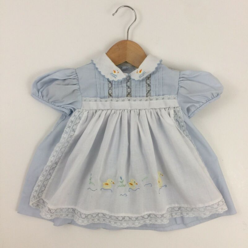 Vintage Nannette Baby Girl 12-18 mos Dress Blue White Apron Lace Trim Duck Swan