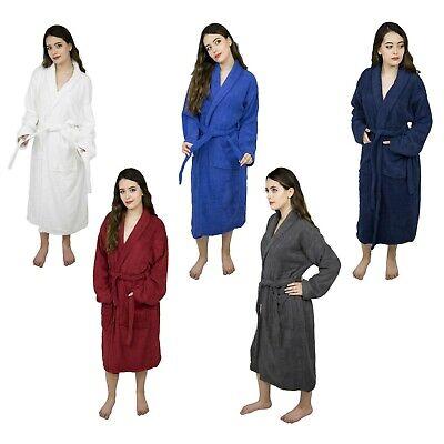 Ladies Shawl Collar Long Sleeve Bathrobe Women's Terry Cloth Kimono Collar Robe -