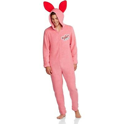 Christmas Story Pink Bunny pajamas men Large new one piece Costume Union Suit J6 - Pink Bunny Suit Costume