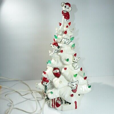 """Vintage 16"""" White Ceramic Light-Up Christmas Tree With Mice. Mouse"""