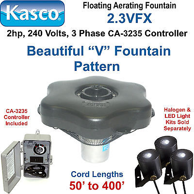 Kasco 2.3VFX150 Floating Aerating Fountain 3 Phase 2hp 240 volts 150' Cord