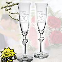 2 Copas De Champagne Boda Grabado Personalizada Regalo Con Blancos Corazones -  - ebay.es