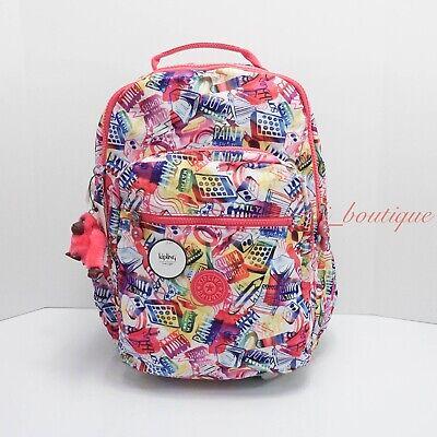 NWT Kipling BP4361 Seoul Backpack Laptop Travel Bag Polyester Doodle Print covid 19 (Kipling Print Backpack coronavirus)