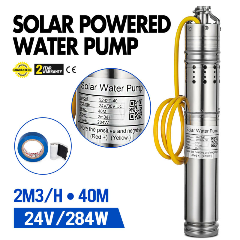 24V 2000L/H Solar Powered Water Pump Farm&Ranch Submersible Bore Hole Deep Well