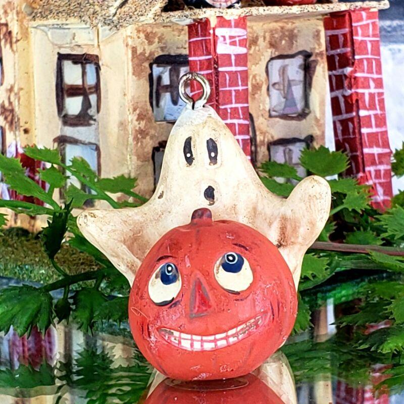 "Vintage Poliwoggs ""Boo & Bob""Ghost Pumpkin 1.75"" Mini Ornament HALLOWEEN *NOS"