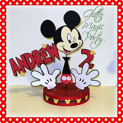 Mickey Mouse Centerpiece Personalized with Name and Age - Mickey Mouse Centerpieces