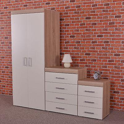White/Sonoma Oak Bedroom Furniture Set Wardrobe, 4 Drawer Chest, 3 Draw Bedside