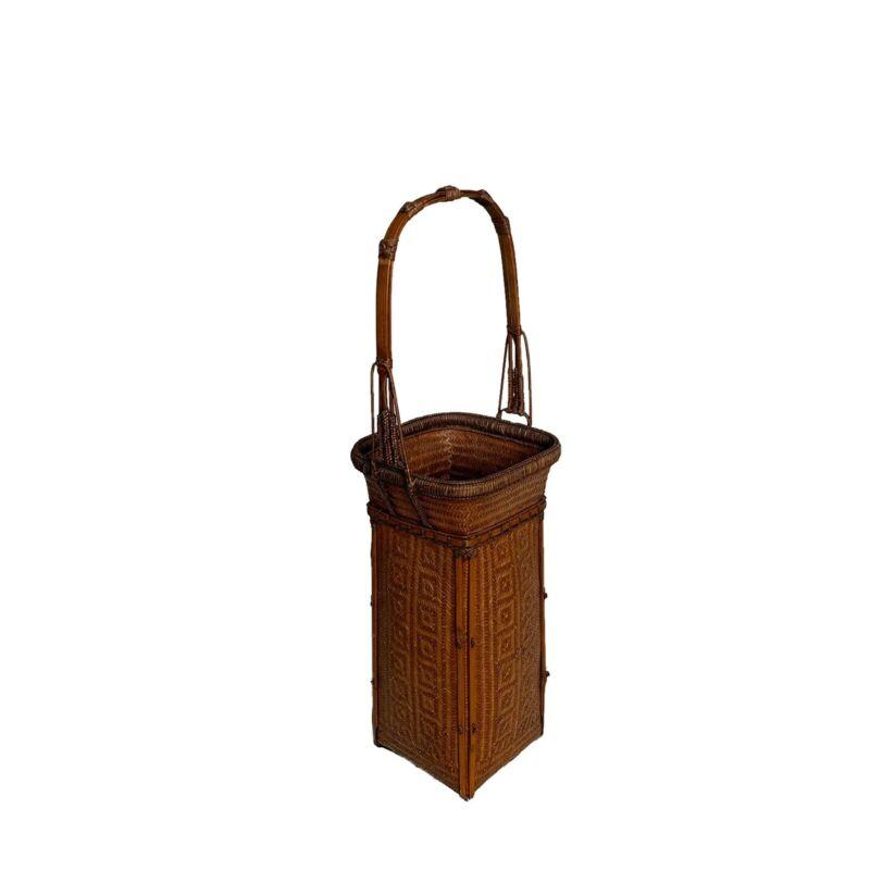 Tall Woven Bamboo Japanese Basket Ikebana Flower Vase Antique Vintage Japan