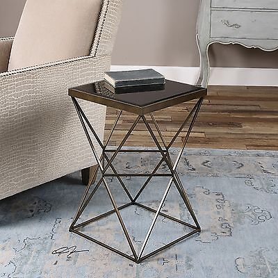 URBAN INDUSTRIAL FORGED ANTIQUED BRONZE IRON BEVELED BLACK GLASS TOP END TABLE