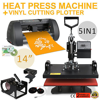 "5IN1 HEAT PRESS TRANSFER KIT 14"" VINYL CUTTING PLOTTER T-SHIRT PRINTER CUTTER"