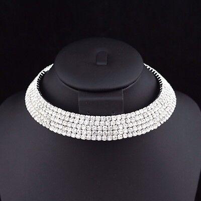5-Row Clear Austrian Rhinestone Crystal Choker Necklace Party Bridal Prom NC5