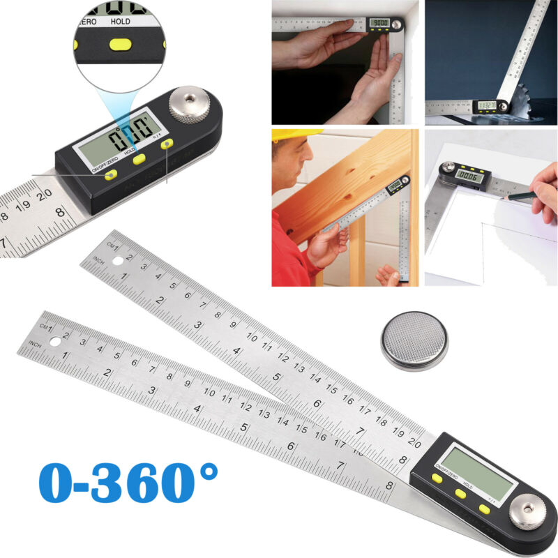 """8"""" Electronic Digital 360° Angle Finder Protractor Ruler Stainless LCD W/Battery"""