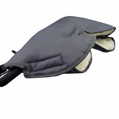 HANDMUFF MUFF Handwärmer Handschuh für Kinderwagen mit LAMMWOLLE DUNKELGRAU