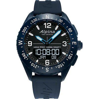 Alpina Men's Quartz Analog-Digital Blue Rubber Strap 45mm Watch AL-283LBN5NAQ6