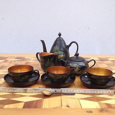 Service 3 People Patent Wood China Vietnam Tea Service