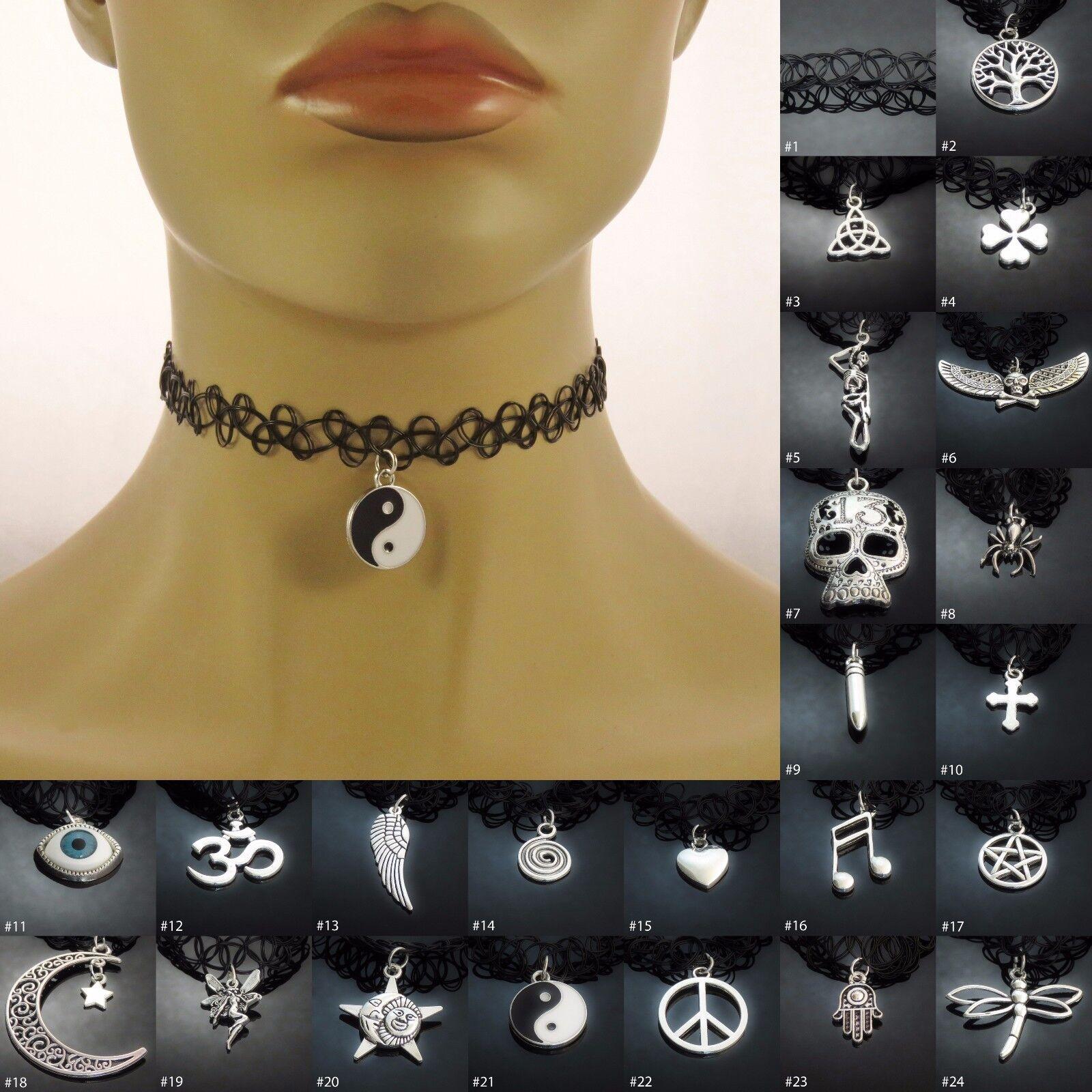 Jewellery - Tattoo Choker Stretch Necklace ladies womens girls jewellery accessory UK SELLER