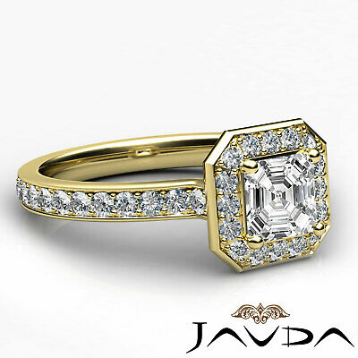 Asscher Diamond Halo Pave Set Anniversary Ring GIA G VS1 18k White Gold 0.95Ct 9
