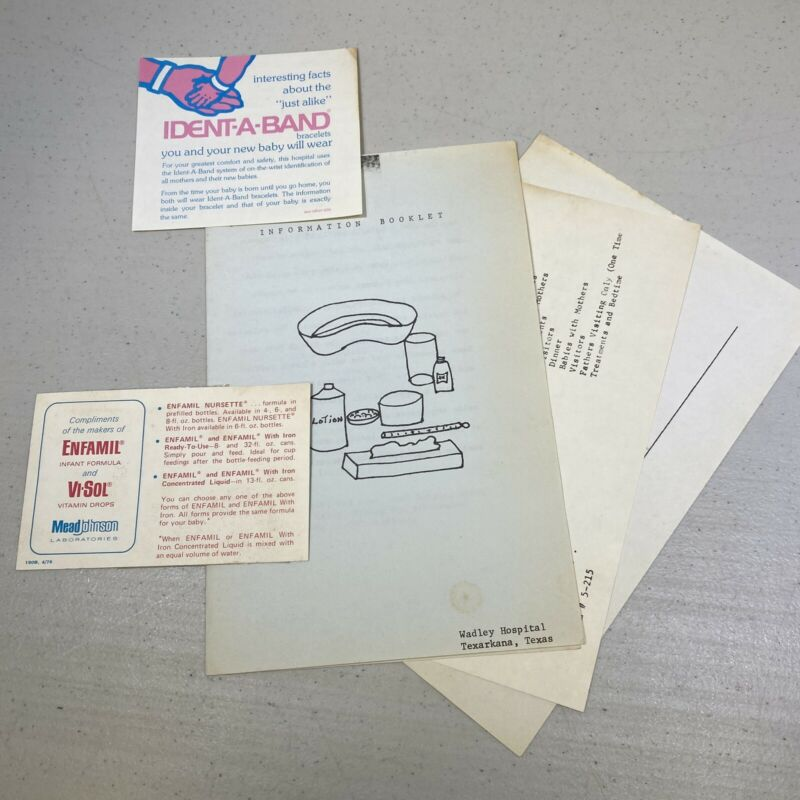 Vtg 1977 Wadley Hospital Texarkana Texas New Mother Baby Information Paperwork