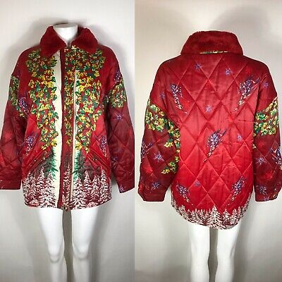 Rare Vtg Gianni Versace Sport 90s Red Leaf Jacket M 42