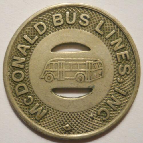McDonald Bus Lines (Girard Ohio) transit token - OH355B