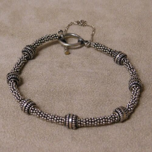 Sterling Silver Heavy Beaded Bracelet with Toggle Clasp